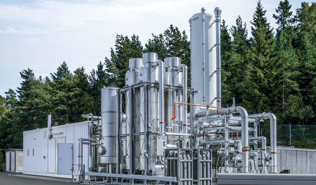 Jalostusyksikkö muuntaa biokaasun puhtaaksi biometaaniksi