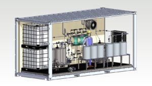 Weeefiner testauslaitteisto rakennetaan merikontin sisälle, ja on siten helposti siirrettävissä asiakkaan sijainnin mukaan.